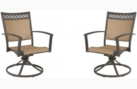 Carmadelia Tan and Brown Outdoor Sling Swivel Chair Set of 2