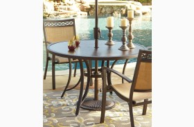 Carmadelia Tan and Brown Outdoor Round Dining Table