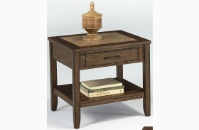 Forest Brook Ash & Ceramic Tile Rectangular End Table