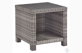 Salem Beach Gray Outdoor Square End Table