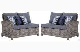 Salem Beach Gray Outdoor RAF And LAF Loveseat Set Of 2