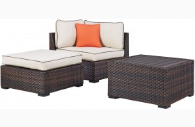 Renway Beige and Brown Outdoor Corner, Table and Ottoman with Cushions