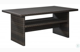 Easy Isle Dark Brown And Beige Outdoor Rectangular Dining Table