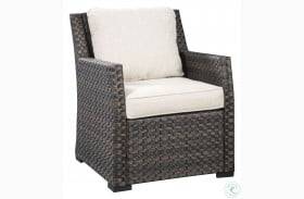 Easy Isle Dark Brown And Beige Outdoor Lounge Chair