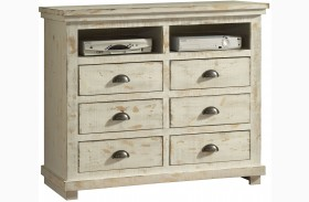 Willow Distressed White Media Chest