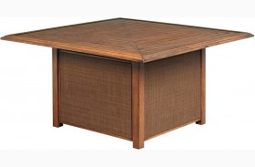 Zoranne Beige and Brown Outdoor Square Fire Pit Table