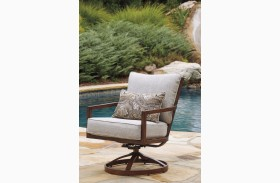 Zoranne Beige and Brown Outdoor Swivel Lounge Chair Set of 2