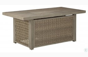 Beachcroft Beige Outdoor Rectangular Fire Pit Table