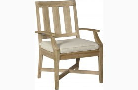 Clare View Beige Outdoor Arm Chair with Cushion Set of 2
