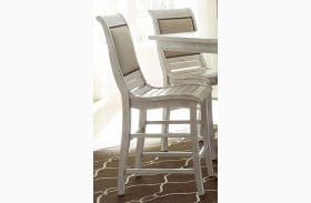 Willow Distressed White Upholstered Counter Height Chair Set of 2