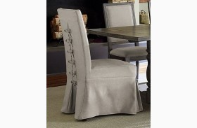 Muses Dove Grey Upholstered Parsons Chair Set of 2