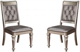 Danette Metallic Platinum Side Chair Set of 2
