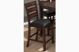 Baroque Brown Upholstered Slat Back Stool Set of 2
