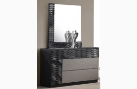 Roma Black and Grey Lacquer Dresser & Mirror