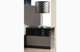 Roma Black and Grey Lacquer Nightstand
