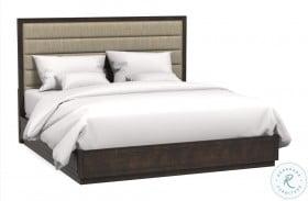 Artiste Dark Cherry Cary Jute Upholstered Panel Bed