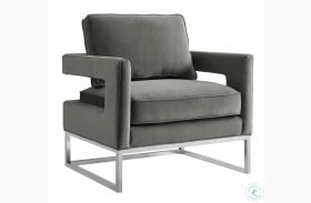 Avery Grey Velvet Chair with Silver Base