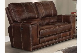 Salinger Maple Dual Power Reclining Loveseat