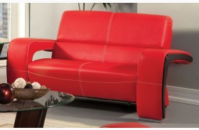 Enez Red Leatherette Loveseat