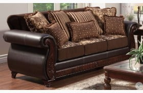 Franklin Dark Brown Fabric and Leatherette Sofa