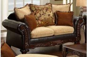 Doncaster Tan Fabric and Espresso Leatherette Loveseat