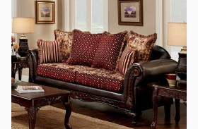 Ellis Brown And Burgundy Sofa