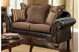 San Roque Fabric and Leatherette Loveseat