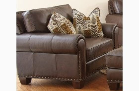Escher Top Grain Leather Chair with 2 Accent Pillows