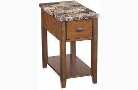End Program Marble Top Chairside End Table