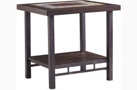 Gallivan Two-Tone Brown Rectangular End Table