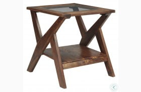 Charzine Warm Brown Rectangular End Table