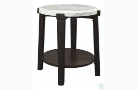Janilly Dark Brown And White End Table