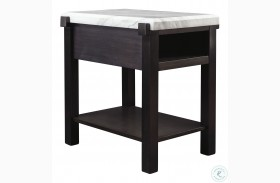 Janilly Dark Brown And White Chairside Table