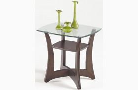 Abacoa Dark Walnut Square Lamp Table