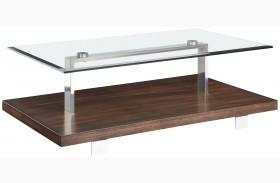 Modern Loft Nutmeg Brush Nickel Rectangular Cocktail Table