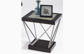 East Bay Woodtone Tile Rectangular End Table