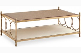Trey Brushed Bronze Metal Rectangular Cocktail Table With Casters