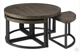 Johurst Grayish Brown and Black Coffee Table with 4 Stools