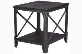 Milford Weathered Charcoal And Gunmetal Rectangular End Table