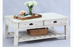 Willow Distressed White Rectangular Cocktail Table