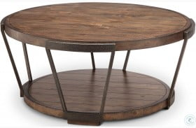 Yukon Bourbon and Aged Iron Round Cocktail Table