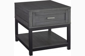 Caitbrook Gray and Black End Table