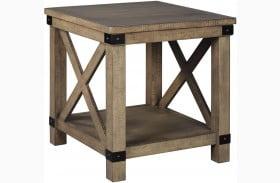 Aldwin Gray Rectangular 1 Shelf End Table