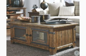 Isabella Farmhouse Timber Lift Top Storage Cocktail Table