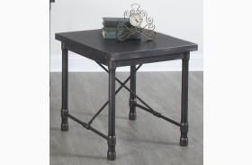 Grand Cosway Worn Black Rectangular End Table