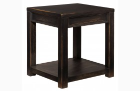 Gavelston Dry Vintage Weathered Black Square End Table