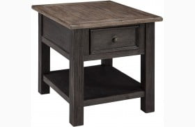 Tyler Creek Brown and Black Rectangular End Table