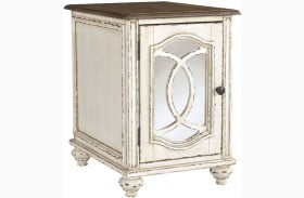 Realyn White and Brown Chair Side End Table