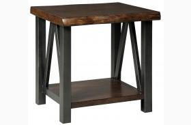 Esmarina Walnut Brown Rectangular End Table