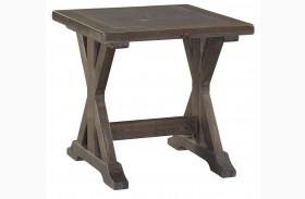 Valkner Grayish Brown Square End Table